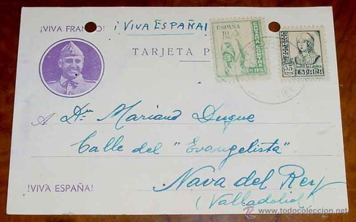 ANTIGUA TARJETA POSTAL PATRIOTICA, FRANCO, GUERRA CIVIL - CIRCULADA EN 1937 - TIENE DOS AGUJERITOS P (Postales - Postales Temáticas - Guerra Civil Española)