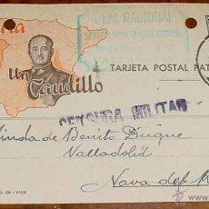 Postales: ANTIGUA TARJETA POSTAL PATRIOTICA, FRANCO, GUERRA CIVIL - CIRCULADA EN 1937 CON SELLO DE CENSURA MIL. Lote 38250761