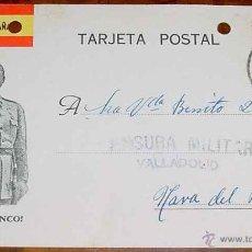 Postales: ANTIGUA TARJETA POSTAL PATRIOTICA, FRANCO, GUERRA CIVIL - CIRCULADA EN 1937 CON SELLO DE CENSURA MIL. Lote 38250762