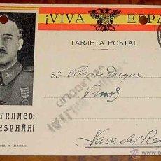 Postales: ANTIGUA TARJETA POSTAL PATRIOTICA, FRANCO, GUERRA CIVIL - CIRCULADA EN 1937 CON SELLO DE CENSURA MIL. Lote 38250763