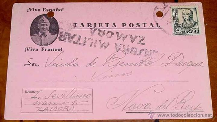 ANTIGUA TARJETA POSTAL PATRIOTICA, FRANCO, GUERRA CIVIL - CIRCULADA EN 1937 CON SELLO DE CENSURA MIL (Postales - Postales Temáticas - Guerra Civil Española)