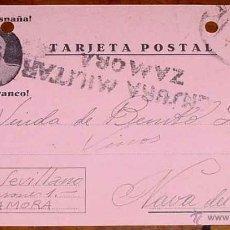 Postales: ANTIGUA TARJETA POSTAL PATRIOTICA, FRANCO, GUERRA CIVIL - CIRCULADA EN 1937 CON SELLO DE CENSURA MIL. Lote 38250764