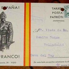Postales: ANTIGUA TARJETA POSTAL PATRIOTICA, FRANCO, GUERRA CIVIL - CIRCULADA EN 1937 CON SELLO DE CENSURA MIL. Lote 38250765