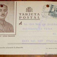 Postales: ANTIGUA TARJETA POSTAL PATRIOTICA, FRANCO, GUERRA CIVIL - CIRCULADA EN 1937 CON SELLO DE CENSURA MIL. Lote 38250767