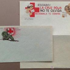 Postales: CONJUNTO SOBRE ILUSTRADO Y CARTA ILUSTRADA DE LA GUERRA CIVIL, ORIGINAL. CRUZ ROJA. Lote 43159103