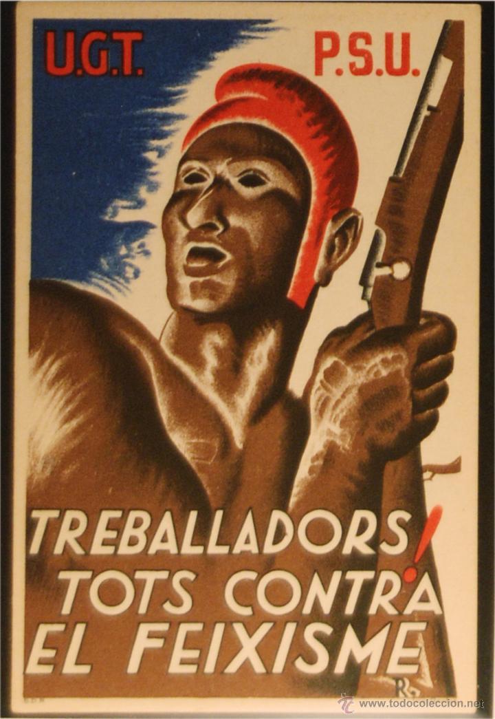 POSTAL DE CAMPAÑA ORIGINAL GUERRA CIVIL - REPUBLICANA U.G.T-P.S.U. - TREBALLADORS (Postales - Postales Temáticas - Guerra Civil Española)