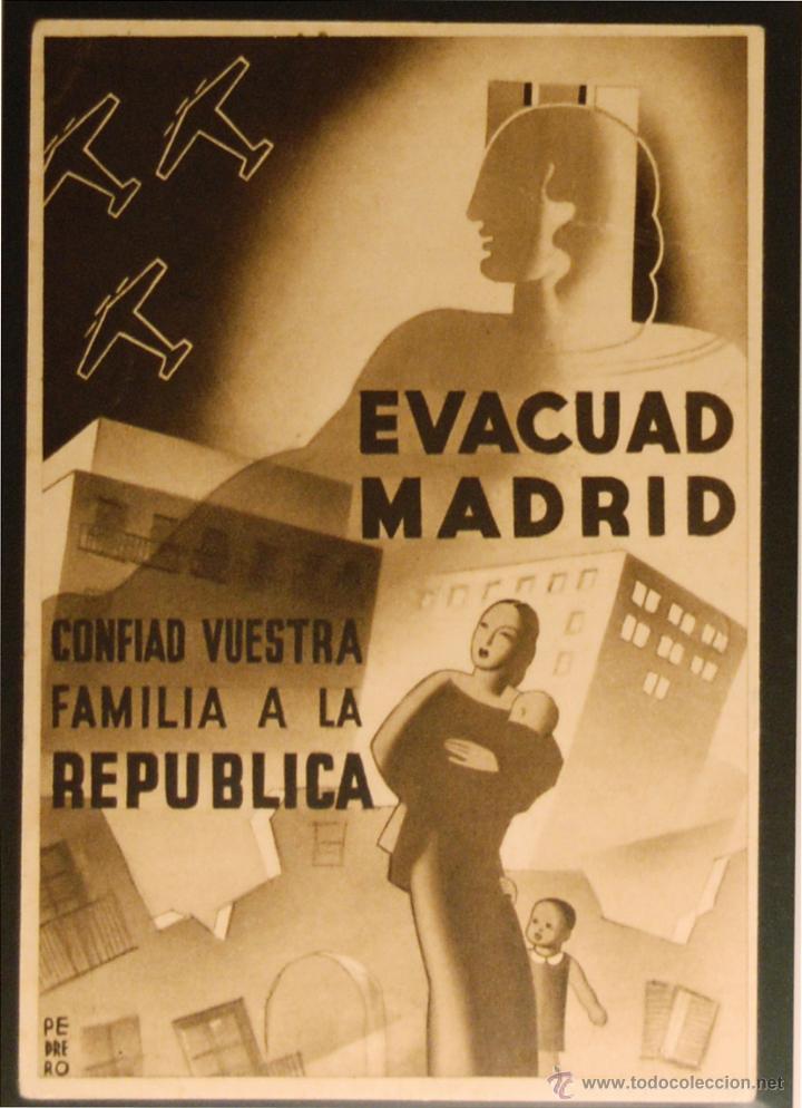 POSTAL DE CAMPAÑA ORIGINAL GUERRA CIVIL - REPUBLICANA - EVACUAD MADRID (Postales - Postales Temáticas - Guerra Civil Española)