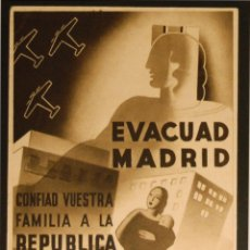 Postales: POSTAL DE CAMPAÑA ORIGINAL GUERRA CIVIL - REPUBLICANA - EVACUAD MADRID. Lote 43295530
