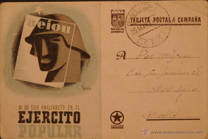 POSTAL ORIGINAL GUERRA CIVIL - REPUBLICANA - NI UN SOLO ANALFABETO (Postales - Postales Temáticas - Guerra Civil Española)