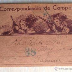 Postales: GUERRA CIVIL, SOBRE CARTA POSTAL ILUSTRADA. BATALLÓN SANIDAD XIII CUERPO EJÉRCITO, CIRCULADO 1938.. Lote 43495063