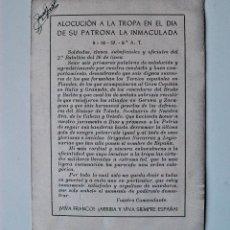 Postales: POSTAL CON ALOCUCION A LA TROPA EL DIA DE LA INMACULADA, VIVA FRANCO, ARRIBA Y VIVA SIEMPRE ESPAÑA! . Lote 43920384