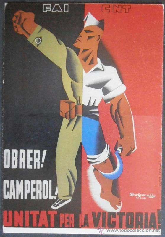 (7185)POSTAL REPRODUCCION CARTEL GUERRA CIVIL,OBRER,CAMPEROL,UNITAT PER LA VICTORIA,CNT FAI (Postales - Postales Temáticas - Guerra Civil Española)