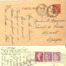 Postales: GUERRA CIVIL - DOS POSTALES DIRIGIDAS AL CONSULADO DE FRANCIA EN ALICANTE - SELLO CENSURA VALENCIA. Lote 45007055