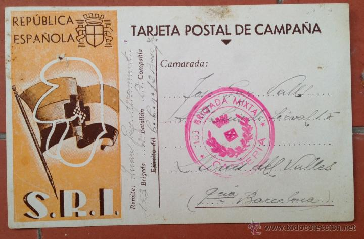 TARJETA POSTAL DE CAMPAÑA SRI, 153 BRIGADA MIXTA 20 BATALLÓN. GUERRA CIVIL. SOCORRO ROJO (Postales - Postales Temáticas - Guerra Civil Española)