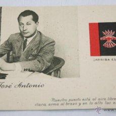 Postales: CURIOSA POSTAL DE JOSE ANTONIO PRIMO DE RIVERA, SELLO DE ESPAÑA Y MATASELLOS U.S, A ALEJANDRO CASONA. Lote 45681423