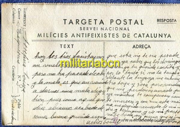 TARGETA POSTAL. MILÍCIES ANTIFEIXISTES DE CATALUNYA. GUERRA CIVIL. (Postales - Postales Temáticas - Guerra Civil Española)