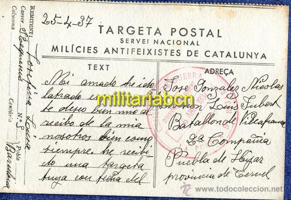 TARGETA POSTAL. MILÍCIES ANTIFEIXISTES DE CATALUNYA. GUERRA CIVIL. 25. 04. 1937 (Postales - Postales Temáticas - Guerra Civil Española)
