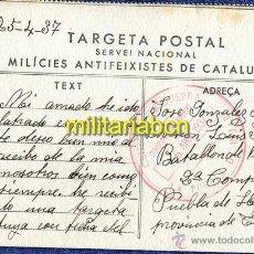Postales: TARGETA POSTAL. MILÍCIES ANTIFEIXISTES DE CATALUNYA. GUERRA CIVIL. 25. 04. 1937. Lote 46292220