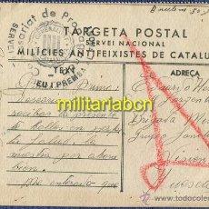 Postales: TARGETA POSTAL. MILÍCIES ANTIFEIXISTES DE CATALUNYA. GUERRA CIVIL. 30 JUNIO 1937. CON SELLO. Lote 46292519