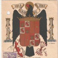 Postales: ESCUDO NACIONALISTA CIRCULADA EN 1941 CON TALADROS PARA ARCHIVAR. Lote 47664677