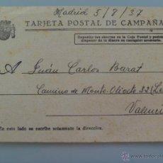 Postales: TARJETA DE CAMPAÑA REPUBLICA , DESDE MADRID A VALENCIA , 1937. Lote 48270503