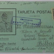 Postcards - TARJETA POSTAL CENSURA MILITAR SANTANDER AÑO 1937 - 48366072