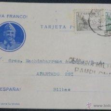 Postales: TARJETA POSTAL CENSURA MILITAR PAMPLONA (NAVARRA) AÑO 1939. Lote 48394643