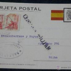 Postales: TARJETA POSTAL CENSURA MILITAR CALATAYUD (ZARAGOZA) AÑO 1939. Lote 48394700