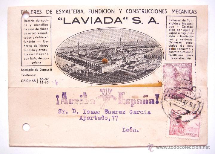 TARJETA POSTAL TALLERES FUNDICION CONSTRUCCIONES LAVIADA 1947 GIJON ASTURIAS FRANCO ARRIBA ESPAÑA (Postales - Postales Temáticas - Guerra Civil Española)