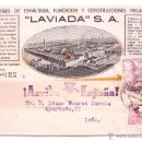 Postales: TARJETA POSTAL TALLERES FUNDICION CONSTRUCCIONES LAVIADA 1947 GIJON ASTURIAS FRANCO ARRIBA ESPAÑA. Lote 49468887