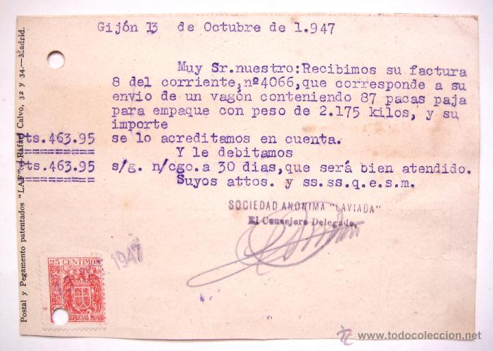 Postales: TARJETA POSTAL TALLERES FUNDICION CONSTRUCCIONES LAVIADA 1947 GIJON ASTURIAS FRANCO ARRIBA ESPAÑA - Foto 2 - 49468887