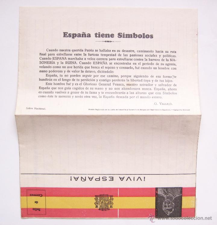 Postales: TARJETA POSTAL PATRIÓTICA SOBRE FRANCO. CAUDILLO ESPAÑOL. EPOCA DE LA GUERRA CIVIL. FALANGE ESPAÑA - Foto 2 - 49469347