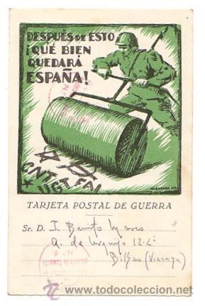 TARJETA POSTAL DE GUERRA. AÑO 1938. LEMA: DESPUES DE ESTO ¡QUE BIEN QUEDARÁ ESPAÑA! (Postales - Postales Temáticas - Guerra Civil Española)