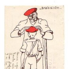 Postales: TARJETA POSTAL TRADICIONALISTA. CENSURA MILITAR. VITORIA. ALAVA. AÑO 1937. Lote 49840291