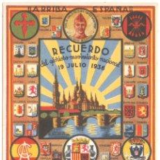 Postales: POSTAL GUERRA CIVIL RECUERDO DEL GLORIOSO MOVIMIENTO NACIONAL 19 JULIO 1936. Lote 35459988