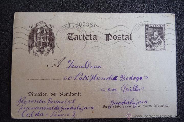 (JX-2634)POSTAL ENVIADA DESDE LA PRISION DE GUADALAJARA X FLORENCIO PASCUAL,U.G.T.FUSILADO (Postcards - Themed - Spanish Civil War)