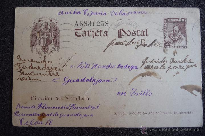 (JX-2635)POSTAL ENVIADA DESDE LA PRISION DE GUADALAJARA X FLORENCIO PASCUAL,U.G.T.FUSILADO (Postcards - Themed - Spanish Civil War)