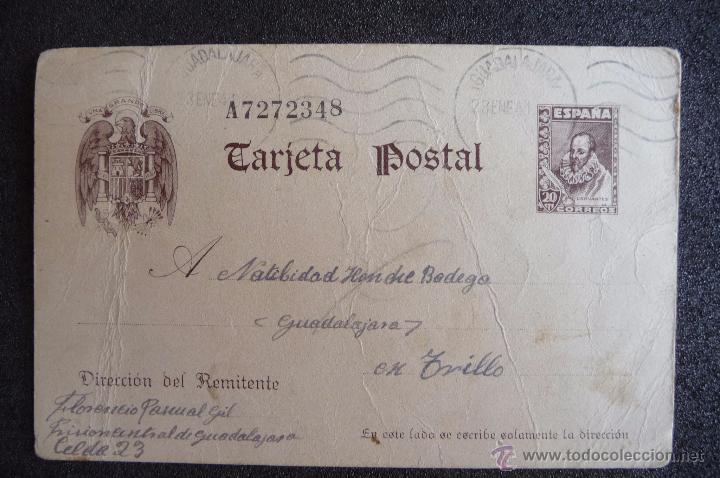 (JX-2637)POSTAL ENVIADA DESDE LA PRISION DE GUADALAJARA X FLORENCIO PASCUAL,U.G.T.FUSILADO (Postcards - Themed - Spanish Civil War)