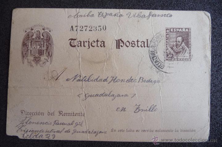 (JX-2640)POSTAL ENVIADA DESDE LA PRISION DE GUADALAJARA X FLORENCIO PASCUAL,U.G.T.FUSILADO (Postcards - Themed - Spanish Civil War)
