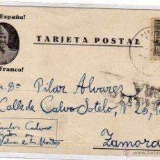Postales: TARJETA POSTAL ESCRITA DURANTE LA GUERRA CIVIL BELVER DE LOS MONTES 1938. Lote 51008555