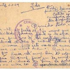 Postales: TARJETA POSTAL CENSURA MILITAR. BILBAO. AÑO 1939. Lote 120507572