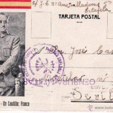 Postales: POSTAL FRANCO CON FRANQUICIA FALANGE BANDERA DE SEVILLA - FECHADA EL 13 DE NOV DE 1938 . Lote 51048436
