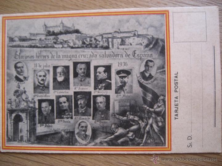 TARJETA POSTAL. GLORIOSOS HEROES DE LA MAGNA CRUZADA SALVADORA DE ESPAÑA. SIN CIRCULAR (Postales - Postales Temáticas - Guerra Civil Española)