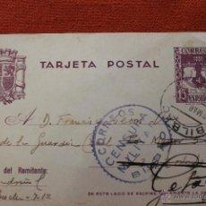 Postales: TARJETA POSTAL GUERRA CIVIL, 1938 CON SELLOS CENSURA MILITAR BILBAO. Lote 51259835