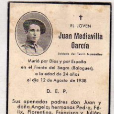 Postales: RECORDATORIO FÚNEBRE JUAN MEDIAVILLA GARCÍA FRENTE DEL SEGRE (BALAGUER). LERIDA. GUERRA CIVIL 1938. Lote 51975459