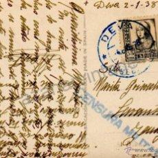 Postcards - POSTAL CIRCULADA CON MATASELLO DE DEVA, GUIPUIZCOA, CENSURA MILITAR - 53333758