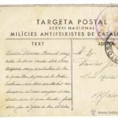 Postales: PS5797 TARJETA POSTAL DE LAS MILICIES ANTIFEIXISTES (CATALUÑA). CIRCULADA EN 1937. Lote 48868653