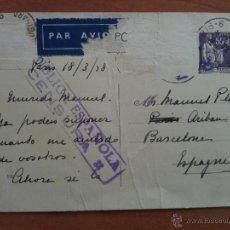 Postales: 1938 POSTAL CENSURADA. FRANCIA - BARCELONA. Lote 54979565