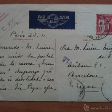 Postales: 1937 POSTAL CENSURADA / PARÍS - BARCELONA. Lote 54979911