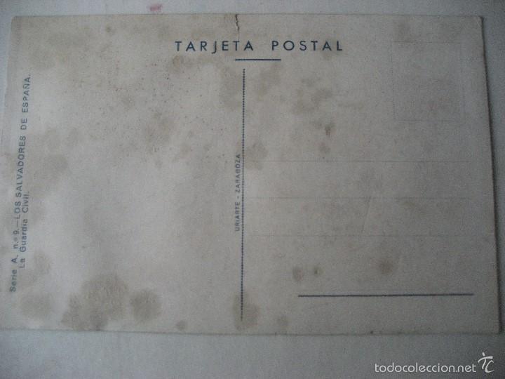 Postales: Los Salvadores de España. Serie A. Nª 9. La Guardia Civil . Ed. Uriarte. Sin circular - Foto 2 - 55571601